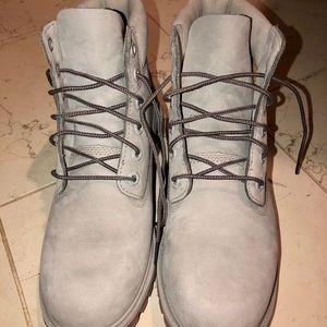 Timberland Shoes - Timberland gray work boots size 7 boys/8.5 women's